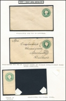 Lot 15 [1 of 4]:British Commonwealth QV Postal Stationery mainly mint group of envelopes or Registration Envelopes, with Trinidad 2d Reg Envelope x2 different, NZ 1900 ½d green & 2d violet, Straits Settlement 1891 5c Reg Envelope, HK 1900 10c Reg Envelope, Gibraltar on 2d St Lucia Reg Envelope and 2d St Lucia Reg Envelope, COGH 1892 ½d green 1d rose x2 different, 2½d green 4d Reg Envelope x2 (1 used), India 1855 1d red KGV lettersheet, 1857 ½a, 1a on blue x2 (1 used), 1a brown on white, 1881 4a6p orange, 2a6p Surcharge, 2a6p orange, 1a Surcharge, Chamba ½a, Zanzibar blue ovpt on India ½a. (25)