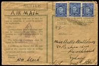 Lot 49 [2 of 4]:World - Military - WWII Honour Envelopes collection with 8 airmail used to Australian addresses (3 with censor reseals), 2 different unused, unused Royal Australian Navy & used airmail Royal Navy to Australia. (12)