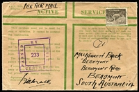 Lot 49 [3 of 4]:World - Military - WWII Honour Envelopes collection with 8 airmail used to Australian addresses (3 with censor reseals), 2 different unused, unused Royal Australian Navy & used airmail Royal Navy to Australia. (12)