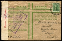 Lot 49 [1 of 4]:World - Military - WWII Honour Envelopes collection with 8 airmail used to Australian addresses (3 with censor reseals), 2 different unused, unused Royal Australian Navy & used airmail Royal Navy to Australia. (12)