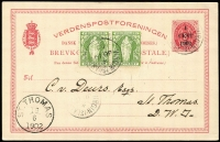 Lot 1486:1902 (Jun 19) inward use of '1/CENT/1902' on 3c red Postal Card with British Virgin islands ½d green pair on face, both indicium and stamps cancelled 'VIRGIN ISLANDS/*/JU19/02', 'ST.THOMAS/19/6/1902' arrival on face. Rare and very attractive.