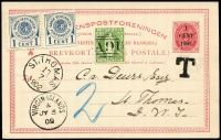 Lot 1487:1902 (Jul 3) inwards use of '1/CENT/1902' on 3c red Postal Card with British Virgin Islands ½d green on face, stamp cancelled 'A91' tied with 'VIRGIN ISLANDS/*/JY3/02', 'T' on face. Underpaid and 1c blue pair applied on arrival, 'ST.THOMAS/1017/1902' arrival on face. Rare and very attractive.