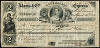 Lot 77:Vic 1854 Bill of Exchange: from Adams & Co Australian Express for $600 in favour of Hannah Potter, usual creasing detracts little. A very attractive, with finely engraved Chalon Head within British Coat of Arms.