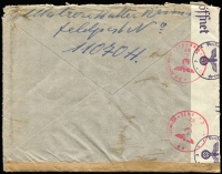 "Lot 1571 [2 of 2]:1941 use of 20pf light blue, cancelled with light 'FELDPOST/b/-19.9.41/[eagle]' on plain cover with circled 'T' in purple, crossed out in pencil with mss ""Feldpost"" notation, sealed at left with 'OberCommando der Wehrmacht/[eagle]/c - Geöffnet' tape & at base by plain brown strip, bearing circular Kriegsmarine/[eagle]/Dienstelle Feldpostnummer 11070' (B1), St Malo Harbour Commandant, backstamped with 'OberCommando der Wehrmacht/[eagle]/C/37/Geprüft' (B2) in red, addressed to Sandame, Sweden, worn edges where unsealed by censor tape."