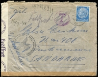 "Lot 1571 [1 of 2]:1941 use of 20pf light blue, cancelled with light 'FELDPOST/b/-19.9.41/[eagle]' on plain cover with circled 'T' in purple, crossed out in pencil with mss ""Feldpost"" notation, sealed at left with 'OberCommando der Wehrmacht/[eagle]/c - Geöffnet' tape & at base by plain brown strip, bearing circular Kriegsmarine/[eagle]/Dienstelle Feldpostnummer 11070' (B1), St Malo Harbour Commandant, backstamped with 'OberCommando der Wehrmacht/[eagle]/C/37/Geprüft' (B2) in red, addressed to Sandame, Sweden, worn edges where unsealed by censor tape."