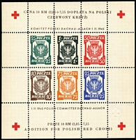 Lot 424 [1 of 3]:1942 French Volunteer Legion: marginal set of 5 with Coat of Arms in margin. Pieles cert (2016). Plus 2 different 1945 Polish Red Cross M/Ss aiding Dachau Concentration Camp victims (7 items)