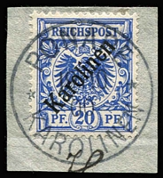 Lot 2180 [3 of 3]:1899-1900 48° Overprints 10pf red-carmine & 20pf violet-ultramarine Mi #31,41, tied to individual pieces by Ponape datestamps, both with Lantelme guarantee handstamps, Cat  €320. (2)