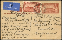 Lot 1651:1934 1½d Brown View uprated with 1½d brown View for 1936 (Sep 28) used airmail to London. A scarce card in fresh condition.