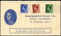 Lot 1618 [2 of 2]:1936 KEVIII ½d, 1½d and 2½d with light 1SEP/1936 cancel & 1d with 14SEP/1936 cancel on matching Westminster Stamp Co covers. Cat £375. (2)