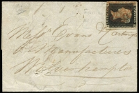 Lot 1449 [1 of 2]:1840 (Sep 11) small entire to Wolverhampton with 3½-margins 1d black [IG] cancelled (but not tied) with red MC cancel.