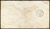 "Lot 1453 [2 of 2]:1876 (Aug 31) use of 6d grey Pl 16 & 1d red Pl 150 pair on cover from Yarmouth (927 duplex) to Capt Jos B Press, British Barque ""Frederica"", Melbourne, endorsed Via Brindisi & If ship is sailed please forward to her. Missing flap, front has good appearance."