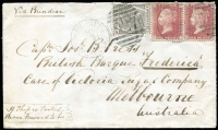 "Lot 1453 [1 of 2]:1876 (Aug 31) use of 6d grey Pl 16 & 1d red Pl 150 pair on cover from Yarmouth (927 duplex) to Capt Jos B Press, British Barque ""Frederica"", Melbourne, endorsed Via Brindisi & If ship is sailed please forward to her. Missing flap, front has good appearance."