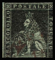 Lot 1531:1851-52 On Coloured Paper SG #2 1q black/grey, 4 close/touching margins, Cat £1,800.