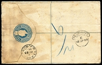 Lot 1363 [3 of 3]:1903 (Aug 25) use of 1d carmine QV on 2d blue KEVII Registration Envelope to London, cancelled with 'EBUTE M[ETTA]/A/AU25/1903/[W.AFRIC]