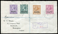 Lot 1395 [1 of 2]:1919 (Apr 9) Wilson cover to England with Overprints on GB 3d, 4d, 5d & 6d tied by 'P.O.PLEASANT ISLAND/AP9/19/(NAURU)' cds, boxed registration handstamp in purple.
