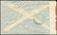 Lot 1221 [6 of 7]:1940-44 censored cover selection bearing New Guinea frankings by airmail (4) and surface, one with ?Passed by Censor/T.N.G No.15? handstamp tying red on bluish ?OPENED BY CENSOR? tape, others censored Cairns (2, one with blue on white tape tied by crowned/circle handstamp) and Townsville (2), cancellations including Kokopo and A.I.F. FIELD P.O./No.12?, odd fault. (5)