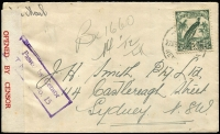 "Lot 951 [1 of 7]:1940-44 censored cover selection bearing New Guinea frankings by airmail (4) and surface, one with ""Passed by Censor/T.N.G No.15"" handstamp tying red on bluish ""OPENED BY CENSOR"" tape, others censored Cairns (2, one with blue on white tape tied by crowned/circle handstamp) and Townsville (2), cancellations including Kokopo and A.I.F. FIELD P.O./No.12"", odd fault. (5)"