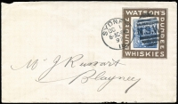 Lot 438:1897 (Oct 1) use of 2d blue Jubilee PTPO envelope with 'WATSONS/DUNDEE - DUNDEE/WHISKIES' advertising collar in brown, Sydney to Blayney, no backflap. Rare.