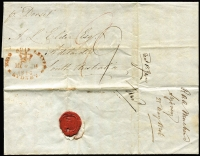 "Lot 997:1846 (May 29) part entire from Sydney to Adelaide, fair red oval 'PAID SHIP LETTER/[crown]/MY*29/1846/SYDNEY'. Rated ""9"" in red and ""9"" in black. Commercial letter to AL Elder (Elder Smith & Co) commenting on loans and rates."