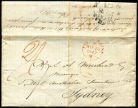 Lot 998 [1 of 2]:1847 (Sep 13) inwards entire from Edinburgh to Sydney, very fine 'PAI[D] at