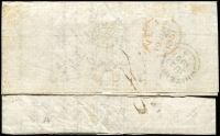 Lot 1165 [2 of 2]:1851 (Jan 22) use of boxed 'QUEENS WHARF' receiving office handstamp on face of entire to London, 4-margin 3d Sydney View (SG #41) cancelled with bars obliterator. A very rare cancel with very few examples recorded. Letter is from the ship owner discussing the state of maintenance. Illustrated in White's Postal History of NSW.