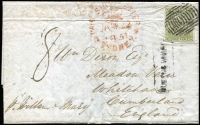 Lot 1165 [1 of 2]:1851 (Jan 22) use of boxed 'QUEENS WHARF' receiving office handstamp on face of entire to London, 4-margin 3d Sydney View (SG #41) cancelled with bars obliterator. A very rare cancel with very few examples recorded. Letter is from the ship owner discussing the state of maintenance. Illustrated in White's Postal History of NSW.