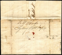 Lot 1167 [2 of 2]:1854 (Sep 16) use of 4-margins 3d Laureate (SG #87) on entire from Adams & Co, Sydney to Adams & Co, Melbourne, endorsed London. The contents relate to a claim for $700 for work & goods on the Louisa.