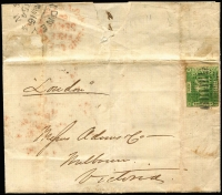 Lot 1167 [1 of 2]:1854 (Sep 16) use of 4-margins 3d Laureate (SG #87) on entire from Adams & Co, Sydney to Adams & Co, Melbourne, endorsed London. The contents relate to a claim for $700 for work & goods on the Louisa.