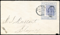 Lot 1044:1898 (Jan 31) use of 2d Jubilee PTPO Envelope for Waverley Brewery with 'BRANDIES SAZERAC BRANDIES/WAVERLEY/BREWERY AGENTS' advertising collar in blue, used Sydney to Blayney (b/s), backflap largely missing. Rare.