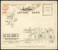 Lot 871 [1 of 3]:1895(C.) Eyre's Letter Card No 1 unused private letter card. So many ads and maps on the front that there is barely room for the address. Very rare.