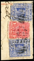 Lot 1908:1876: (C1) two strikes of BN (6x15mm) on 1d Arms & 2d blue x2 on registered piece. [Rated 4R - the first offered by us]  Allocated to Garah-PO 1/8/1881; RO 15/11/1888; PO 1/6/1898.