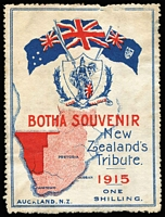 Lot 2295:1915 1/- Botha Souvenir: with light staining and small surface abrasion. A rare patriotic label.