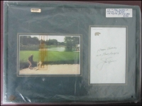 Lot 155:Autographs: Jack Nicklaus signature on personalised notepaper with birthday greetings framed with coloured photo of Jack on Augusta golf course. Frank's Autographs certificate