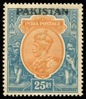 Lot 1642 [1 of 2]:1948 Selection incl range of Peshawar handstamps, some on local issues used due to shortage of KGVI issues. Noted KGV 25r MUH plus few inverted and double ovpts also a few mint misplaced ovpts. A very good lot for the specialist. (42)