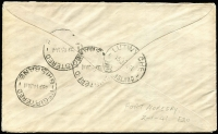 "Lot 1423 [2 of 5]:1941 trio of airmail covers from Port Moresby censored at Cairns (2, Censors ""2"" and ""4""), one 1941 1/6d Air Mail FDC registered, and Townsville (Censor handstamp ties ""OPENED BY CENSOR."" label), last to RAAF Darwin bearing framed ""NAVAL SERVICE"" handstamp. (3)"