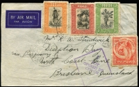 "Lot 1423 [3 of 5]:1941 trio of airmail covers from Port Moresby censored at Cairns (2, Censors ""2"" and ""4""), one 1941 1/6d Air Mail FDC registered, and Townsville (Censor handstamp ties ""OPENED BY CENSOR."" label), last to RAAF Darwin bearing framed ""NAVAL SERVICE"" handstamp. (3)"