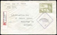 "Lot 1423 [1 of 5]:1941 trio of airmail covers from Port Moresby censored at Cairns (2, Censors ""2"" and ""4""), one 1941 1/6d Air Mail FDC registered, and Townsville (Censor handstamp ties ""OPENED BY CENSOR."" label), last to RAAF Darwin bearing framed ""NAVAL SERVICE"" handstamp. (3)"