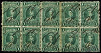 Lot 1021:1882-95 Large Chalons Recess Wmk 1st Crown/Q Sideways £1 green fiscally used rejoined block of 10 with Rentry (R 1/2) (S #156a Cat £325). Plus £1 green thick paper block of 6 also fiscally used, SG #156,156a,161, useful plating blocks, Cat £2,245 for postal usage.
