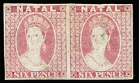 Lot 2084:1864 Chalon 6d rose imperf plate proof pair (slight thin) on Wmk CC paper.
