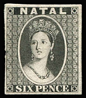 Lot 2085:1864 Chalon 6d black imperf plate proof on soft porous card.