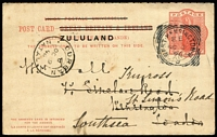 Lot 2087 [1 of 2]:1893 'ZULULAND' on GB Cards reply card, HG #4, from Eshowe to London then redirected to Southsea, West Kensington cancel on indicium, reply half attached and unused. Rare commercial use.