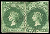 Lot 837:1856-58 Imperf Adelaide Printing 1d deep yellow-green horizontal pair, margins touching to good, SG #6, indistinct DN cancel, Cat £1,100+.