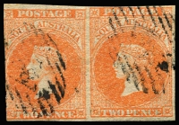 Lot 1139:1860-69 Second Roulettes 2d bright vermilion horizontal 3-margins pair, blind roulettes give the appearance of imperf between. RPSV certificate (2010)