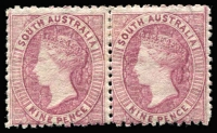 Lot 1227:1868-79 Wmk Large Star Perf 11½-12½ 9d claret SG #75 pair, Cat £400+.