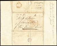 Lot 1079 [1 of 2]:1838 (Dec 29) inwards entire from Bank of Australasia, London to Launceston with boxed 'S