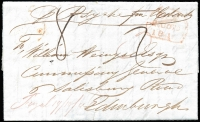 "Lot 1080 [1 of 2]:1847 (Oct 19) duplicate entire from James Grant, Fingal to Edinburgh, red mss ""Fingal 19/10/46"" (ERD), Edinburgh arrival of MAY/1/1847. Rated ""3"" in red and ""8"" in black; content is a statement of account."