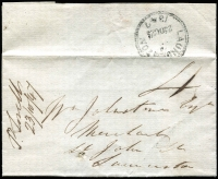 "Lot 1081:1847 (Oct 23) entire from Red Hiil to Launceston, mss ""P. Sorell/23/10/47"" (ERD). Henry Douglas is ordering provisions from famous merchant Wm Johnstone, to be sent per the Harriet."