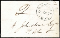 "Lot 1082:1848 (Oct 24) local Launceston entire with rare worn '4.OCLOCK/24OC24/1848' d/s, rated ""2"" in red. The letter calls a meeting of the creditors of the Revd Bristowe."