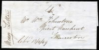 Lot 730 [1 of 2]:1849 (Apr 13) Money Letter from Mr E Sherwood, Lincoln, Macquarie River to Wm Johnstone, Launceston containing £8/13/-. Rated 4d. [Money Letters are an early form of registration and are quite rare.]
