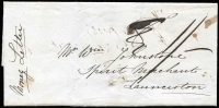 "Lot 1255:1849 (Apr 30) entire Money Letter from Mr. E Sherwood, Lincoln, Macquarie River to Wm Johnstone, Launceston ordering 5 gallons of rum. Originally rated ""8d"" and then corrected to ""1/-"". [Money Letters are an early form of registration and are quite rare.]"